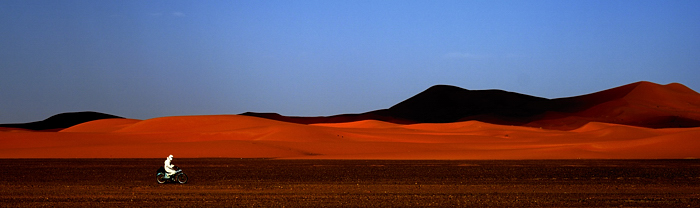 Holistic Photography Sahara Desert Red Sand Dunes Motorbike Rider Alone